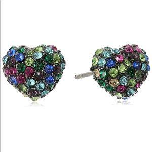 Betsey Johnson Confetti Pave Heart Stud Earrings